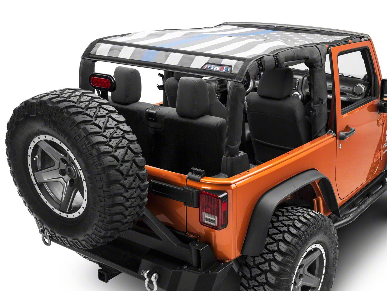 JTopsUSA Safari Mesh Top - Thin Blue Line (07-18 Jeep Wrangler JK 2 Door)