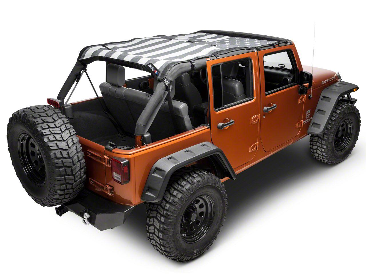 JTopsUSA Safari Mesh Top - Tactical American Flag (07-18 Jeep Wrangler JK 4 Door)
