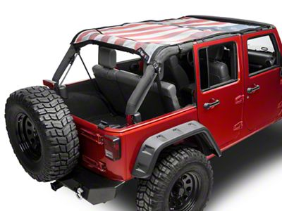 JTopsUSA Safari Mesh Top - Wavy American Flag (07-18 Jeep Wrangler JK 4 Door)