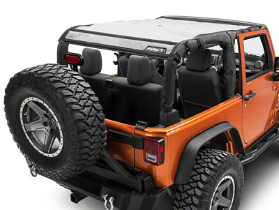 JTopsUSA Safari Mesh Top - Shiny Gray (07-18 Jeep Wrangler JK 2 Door)