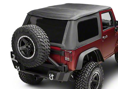 Smittybilt Bowless Combo Soft Top Kit w/ Tinted Windows & Door Surrounds - Black Diamond (07-18 Jeep Wrangler JK 2 Door)