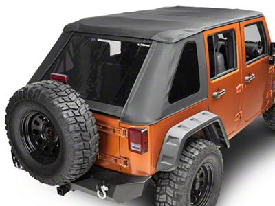 Smittybilt Bowless Combo Soft Top Kit w/ Tinted Windows & Door Surrounds - Black Diamond (07-18 Jeep Wrangler JK 4 Door)