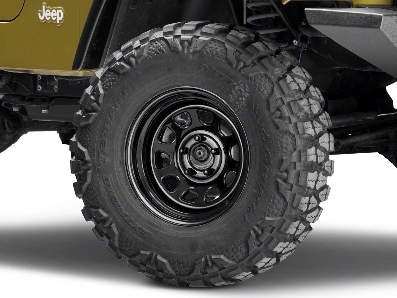Pro Comp Steel Series 51 District Gloss Black Wheel - 15x8 (87-06 Jeep Wrangler YJ & TJ)