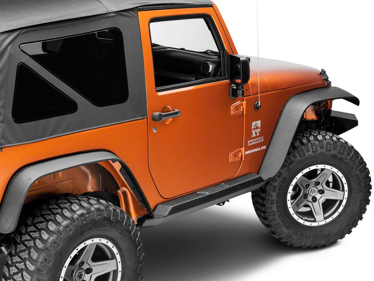 Smittybilt XRC Atlas Rock Sliders w/ Step - Textured Black (07-18 Jeep Wrangler JK 2 Door)