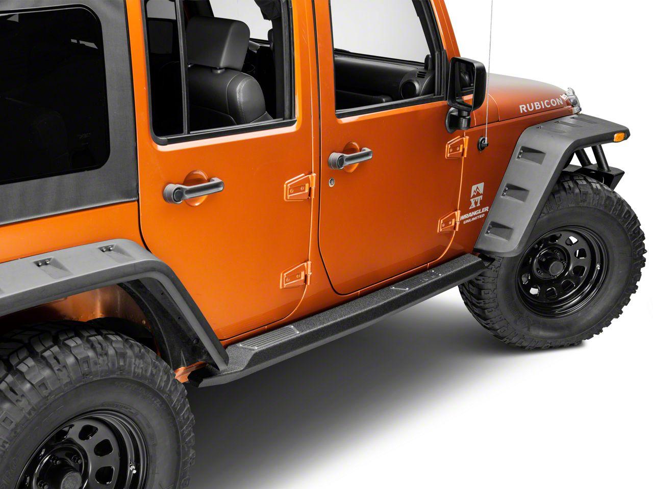 Smittybilt XRC Atlas Rock Sliders w/ Step - Textured Black (07-18 Jeep Wrangler JK 4 Door)