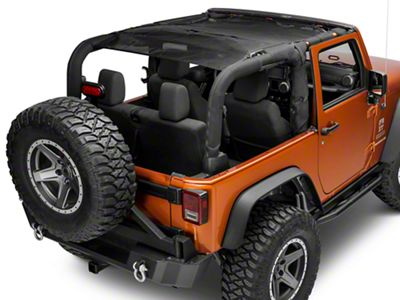 Smittybilt Cloak Extended Mesh Top - Black (07-18 Jeep Wrangler JK 2 Door)