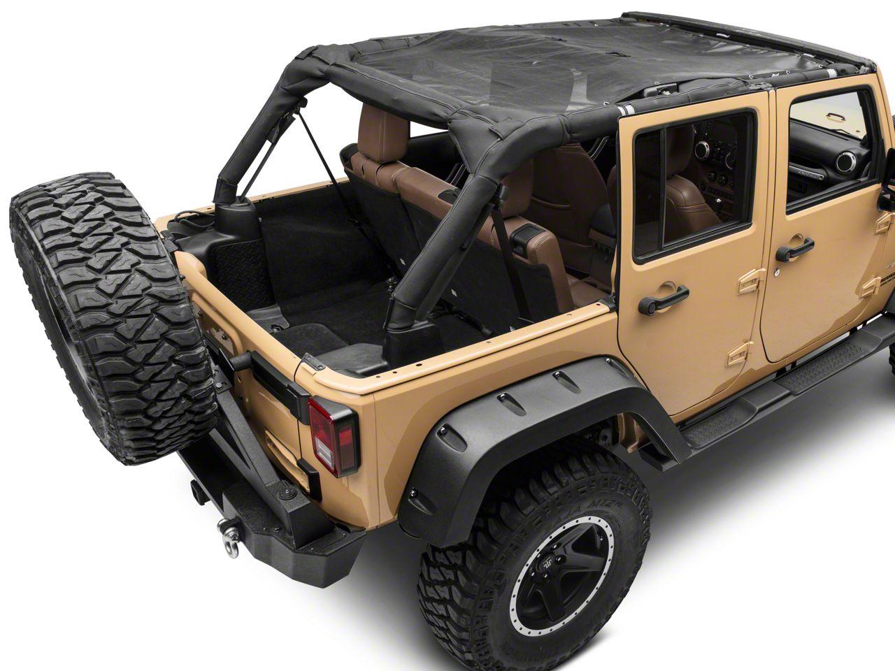 Smittybilt Cloak Extended Mesh Top - Black (07-18 Jeep Wrangler JK 4 Door)