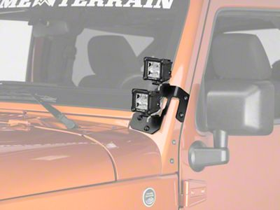 Rugged Ridge 3 in. Square Dual Beam LED Lights w/ Gloss Black A-Pillar Mounting Brackets (07-18 Jeep Wrangler JK)