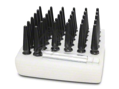 Coyote Black Spike Lug Nut Kit - 5 Wheel Kit - 1/2 in. (87-18 Jeep Wrangler YJ, TJ & JK)
