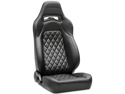 Corbeau Trailcat Diamond Pattern Seat w/ Black Stitching - Black Vinyl - Pair (87-18 Jeep Wrangler YJ, TJ & JK; Seat Brackets are Required for TJ & JK Models)