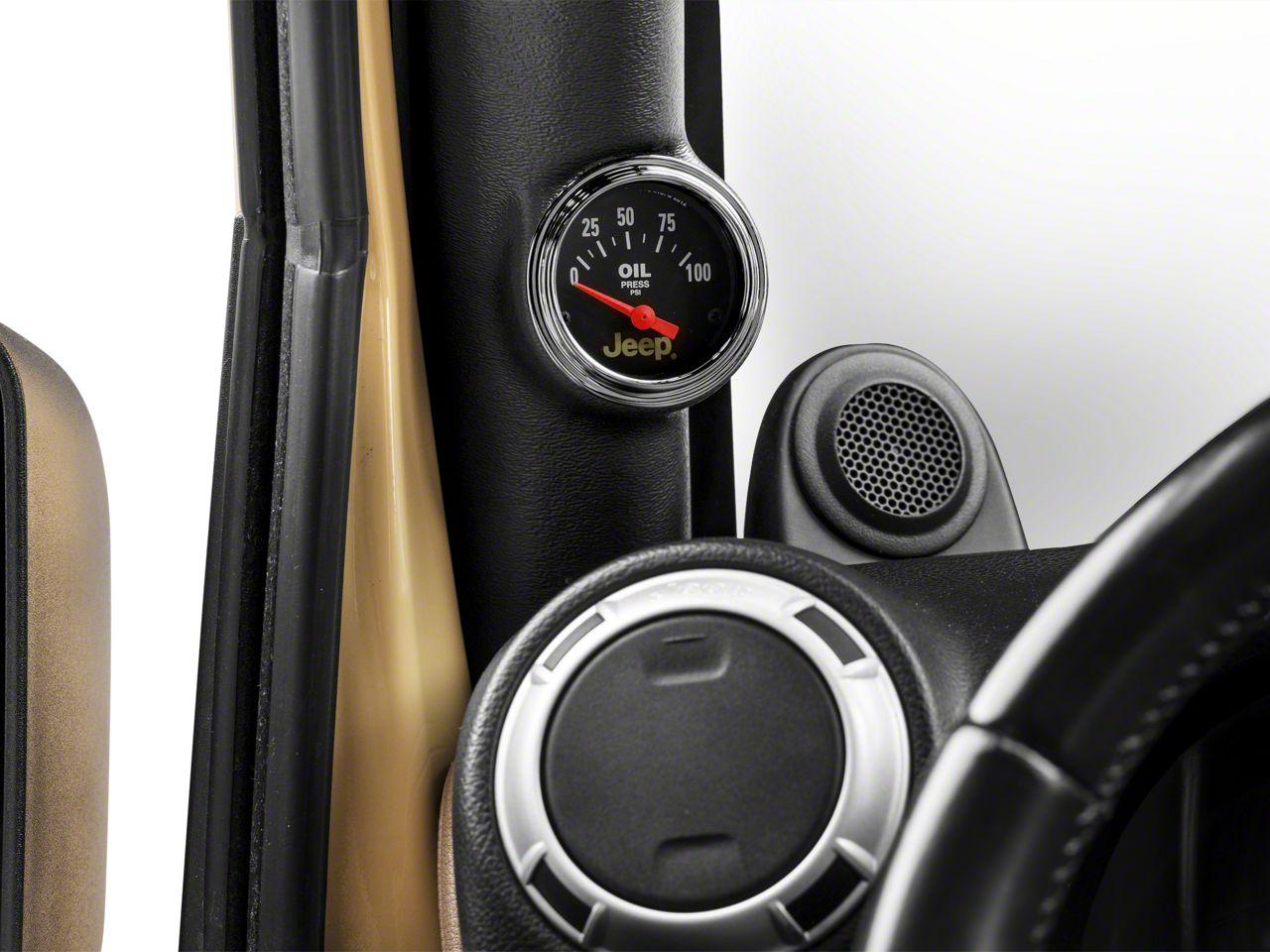 Auto Meter Oil Pressure Gauge - Electrical - Jeep Logo (87-18 Jeep Wrangler YJ, TJ, JK & JL)