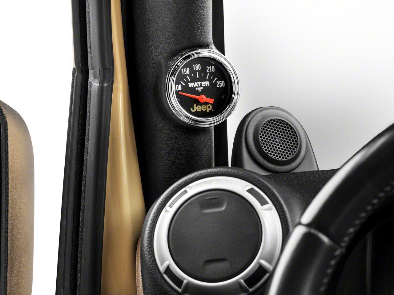 Auto Meter Water Temperature Gauge - Electrical - Jeep Logo (87-18 Jeep Wrangler YJ, TJ, JK & JL)