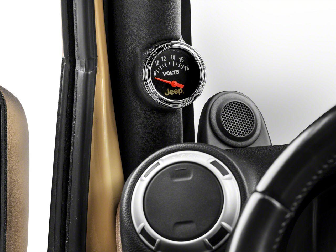 Auto Meter Voltmeter Gauge - Electrical - Jeep Logo (87-18 Jeep Wrangler YJ, TJ, JK & JL)