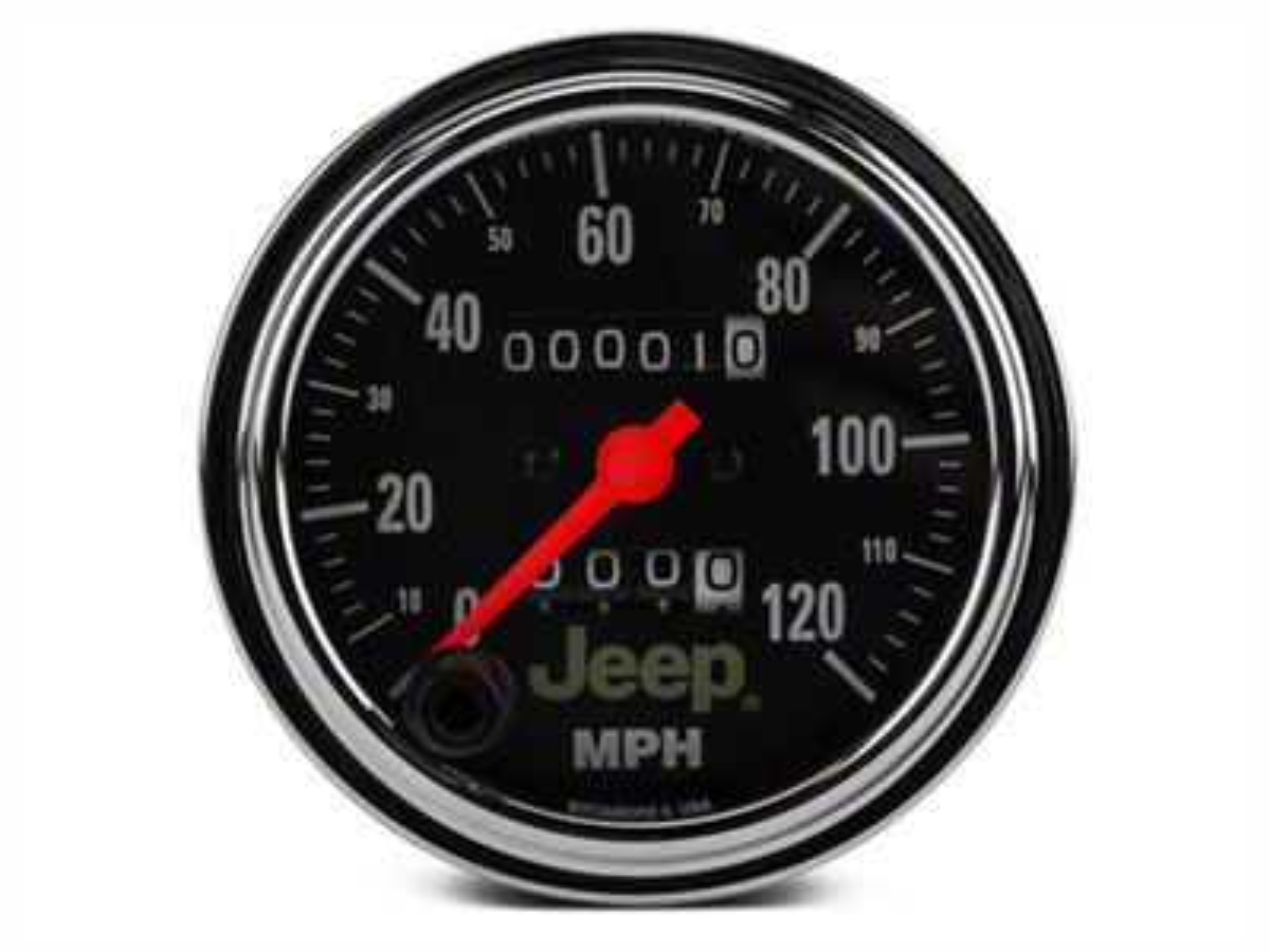 Auto Meter Speedometer Gauge - 0-120 MPH - Mechanical - Jeep Logo (87-18 Jeep Wrangler YJ, TJ, JK & JL)