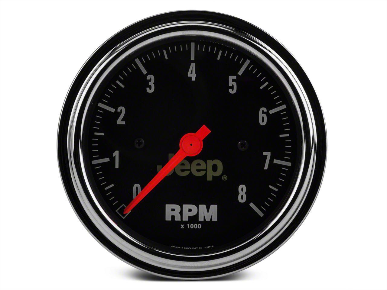Auto Meter In-Dash Tachometer Gauge - Electrical - Jeep Logo (87-18 Jeep Wrangler YJ, TJ, JK & JL)