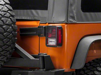 RedRock 4x4 Old Glory Tail Light Covers - Textured Black (07-18 Jeep Wrangler JK)