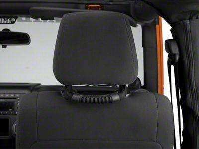 Poison Spyder Rear Headrest Grab Handles - Black (07-19 Jeep Wrangler JK & JL)