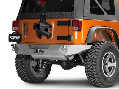 Poison Spyder Brawler Full Width Rear Bumper w/ Hitch & LED Light Mounts - Bare Steel (07-18 Jeep Wrangler JK)