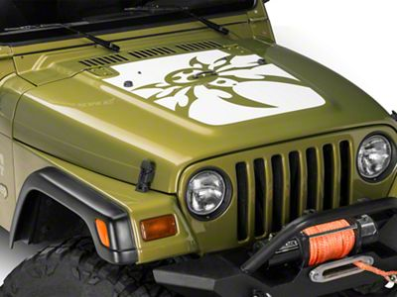 Poison Spyder Mountain Spyder Hood Decal - White (97-06 Jeep Wrangler TJ)