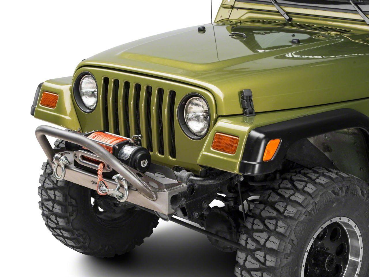 Poison Spyder BFH Front Bumper w/ Brawler Bar & Shackle Tabs - Bare Steel (97-06 Jeep Wrangler TJ)