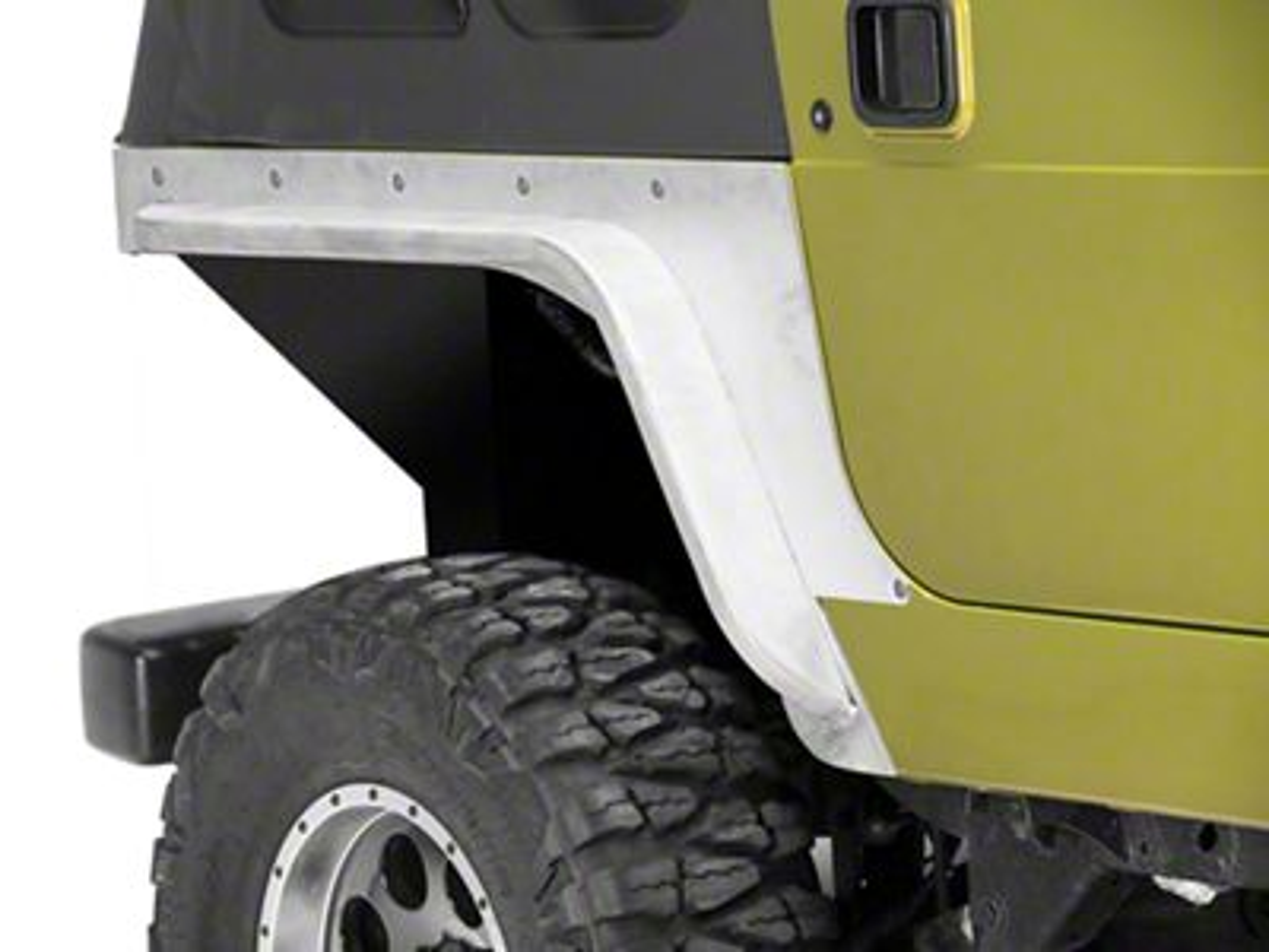 Poison Spyder Comp Cut Crusher Corner Guards w/ 3 in. DeFender Flares - Bare Aluminum (97-06 Jeep Wrangler TJ)