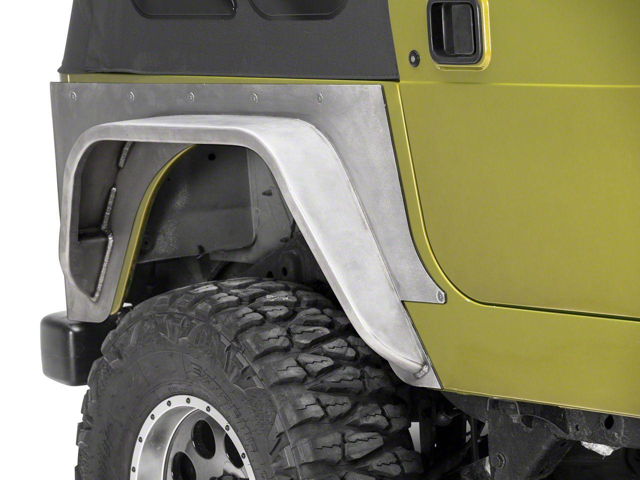 Poison Spyder Standard Crusher Corner Guards w/ 5 in. DeFender Flares - Bare Steel (97-06 Jeep Wrangler TJ)