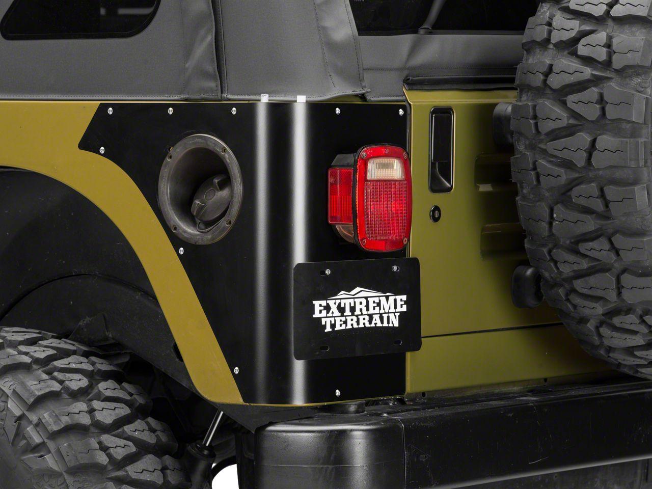 Poison Spyder Trail Corner Guards w/ OEM Tail Light Cutouts - Black (97-06 Jeep Wrangler TJ)