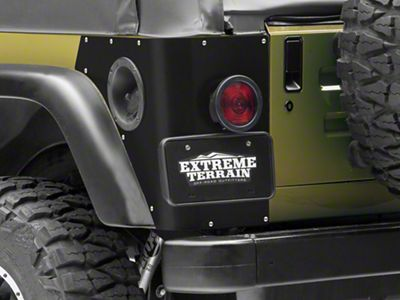 Poison Spyder Trail Corner Guards w/ Round LED Tail Light Cutouts - Black (97-06 Jeep Wrangler TJ, Excluding Unlimited)