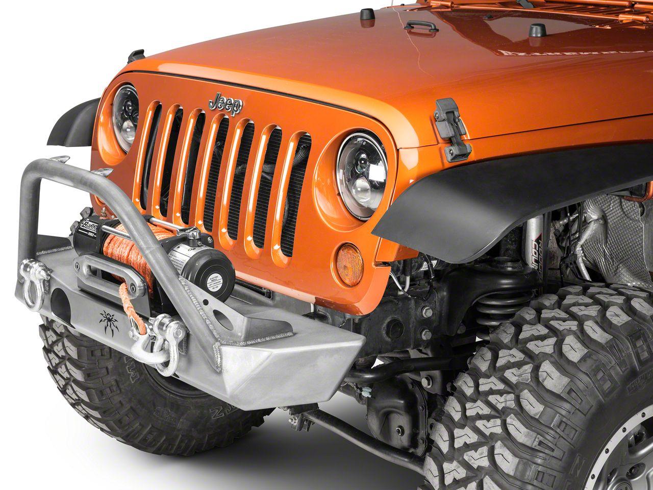 Poison Spyder Brawler Lite Front Bumper w/ Brawler Bar, Shackle Tabs & Light Tabs - Bare Steel (07-18 Jeep Wrangler JK)