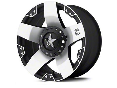 Rockstar XD775 Black Machined Wheels (07-18 Jeep Wrangler JK; 2018 Jeep Wrangler JL)