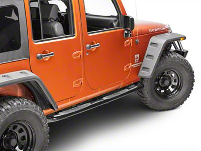 Black Horse Off Road 3 in. Round Side Step Bars - Black (07-18 Jeep Wrangler JK 4 Door)