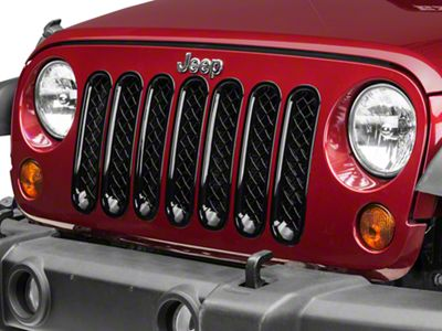 Black Horse Off Road 7-Piece Mesh Grille Insert - Black (07-18 Jeep Wrangler JK)