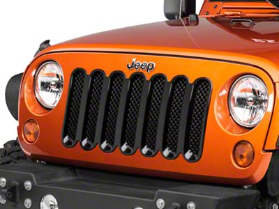 Black Horse Off Road 1-Piece Mesh Grille Insert - Black (07-18 Jeep Wrangler JK)
