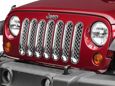 Black Horse Off Road 7-Piece Mesh Grille Insert - Chrome (07-18 Jeep Wrangler JK)
