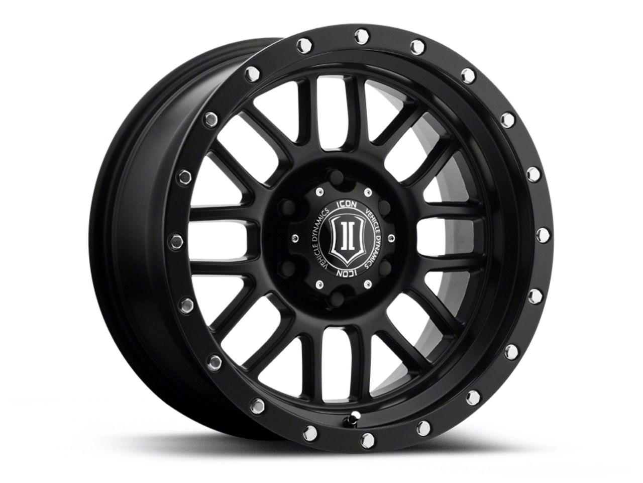 ICON Vehicle Dynamics Alpha Satin Black Wheel - 17x8.5 (07-18 Jeep Wrangler JK; 2018 Jeep Wrangler JL)
