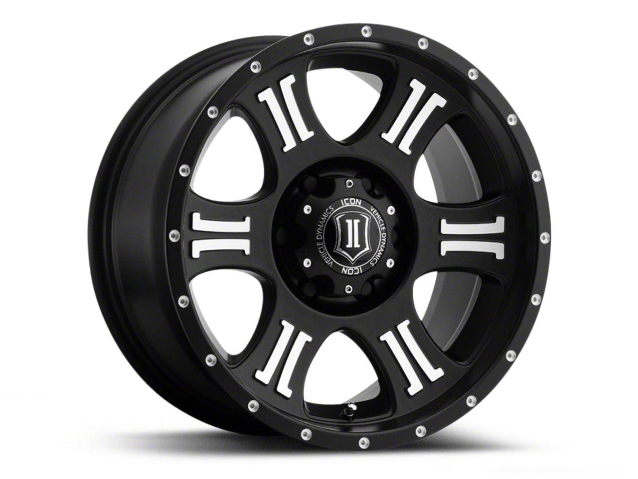 ICON Vehicle Dynamics Shield Satin Black Machined Wheel - 17x8.5 (07-18 Jeep Wrangler JK; 2018 Jeep Wrangler JL)