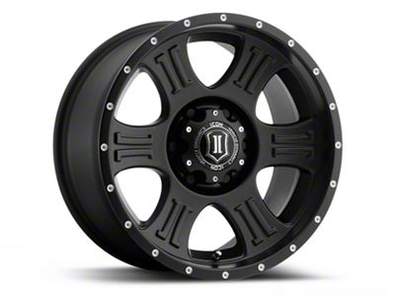ICON Vehicle Dynamics Shield Satin Black Wheel - 17x8.5 (07-18 Jeep Wrangler JK; 2018 Jeep Wrangler JL)