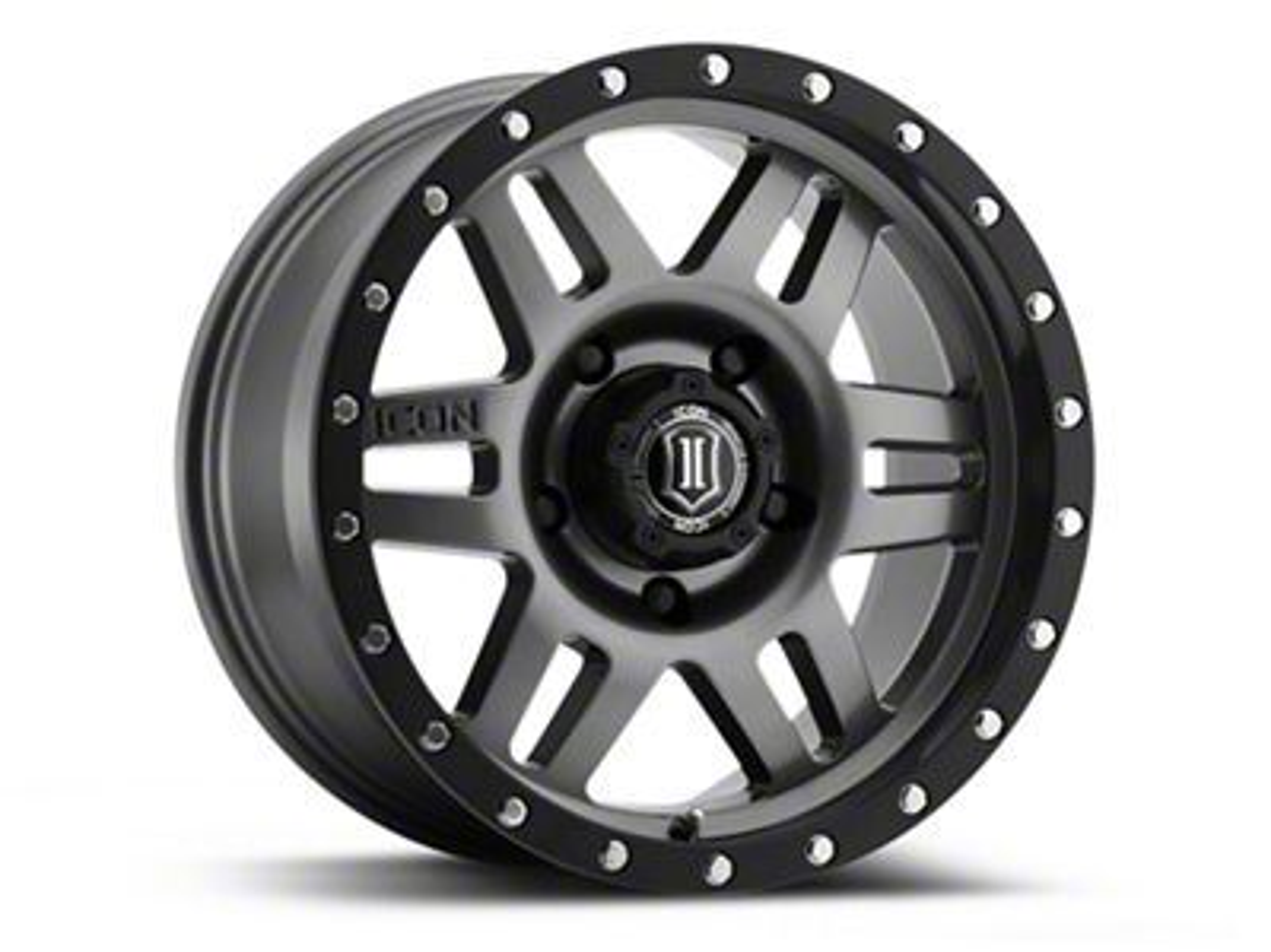 ICON Vehicle Dynamics Six Speed Gunmetal Wheel - 17x8.5 (07-18 Jeep Wrangler JK; 2018 Jeep Wrangler JL)