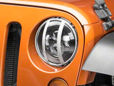 Rugged Ridge Elite Pivotal Headlight Euro Guards - Raw Aluminum (07-18 Jeep Wrangler JK)