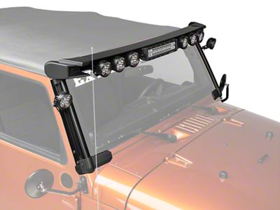 Rugged Ridge Elite Fast Track Windshield Light Bar w/ 13 in. LED Light Bar & 8 Round LED Lights (07-18 Jeep Wrangler JK)