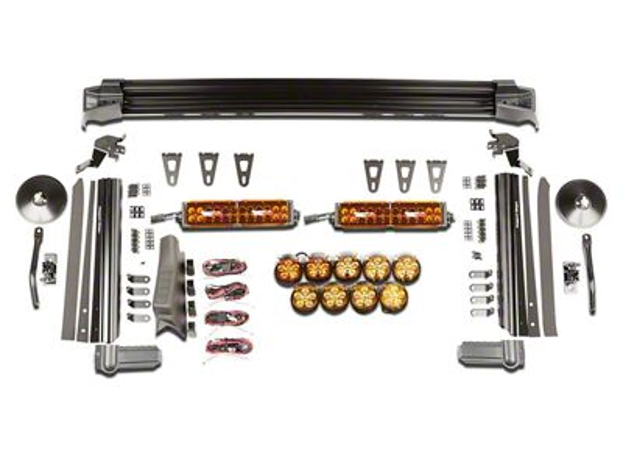 Rugged Ridge Elite Fast Track Windshield Light Bar w/ Two 13 in. LED Light Bars & 9 Round LED Lights (07-18 Jeep Wrangler JK)