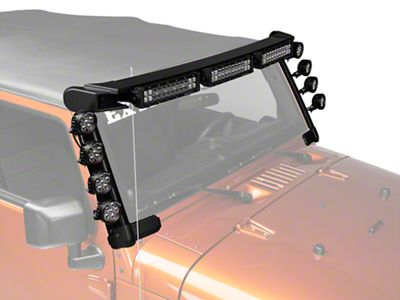 Rugged Ridge Elite Fast Track Windshield Light Bar w/ Three 13 in. LED Light Bars & 9 Round LED Lights (07-18 Jeep Wrangler JK)