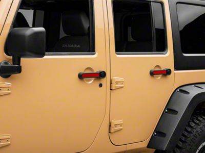 Rugged Ridge Elite Door Handle Inserts - Red (07-18 Jeep Wrangler JK 4 Door)