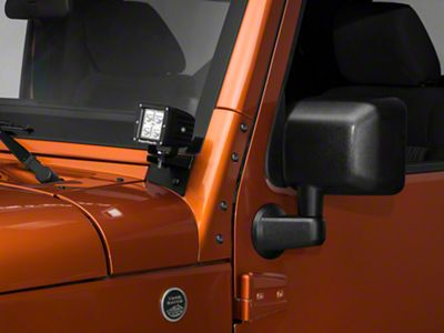Rugged Ridge 3 in. Square LED Lights w/ Windshield Mounting Brackts (07-18 Jeep Wrangler JK)