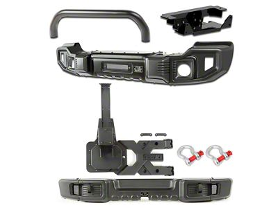 Rugged Ridge Spartacus Front & Rear Bumpers w/ Over-Rider Bar, Winch Plate & Tire Carrier (07-18 Jeep Wrangler JK)