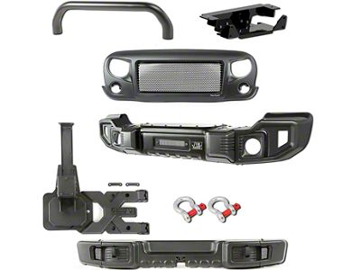 Rugged Ridge Spartacus Front & Rear Bumpers w/ Over-Rider Bar, Winch Plate, Tire Carrier & Spartan Grille (07-18 Jeep Wrangler JK)