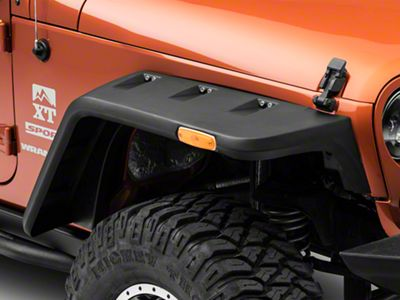 Rugged Ridge Hurricane Fender Flares w/ Side Marker - Smooth Black (07-18 Jeep Wrangler JK)