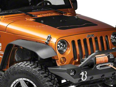 Rugged Ridge Barbed Wire Hood Decal - Matte Black (07-18 Jeep Wrangler JK)