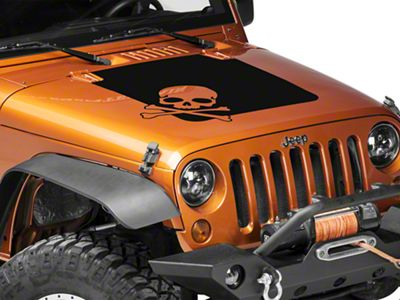 Rugged Ridge Skull Hood Decal - Matte Black (07-18 Jeep Wrangler JK)