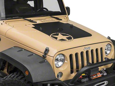 Rugged Ridge Star Hood Decal - Matte Black (07-18 Jeep Wrangler JK)